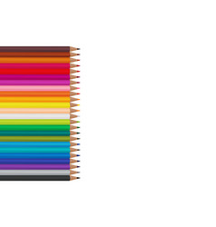 colored pencils lying in a vertical row on a vector image