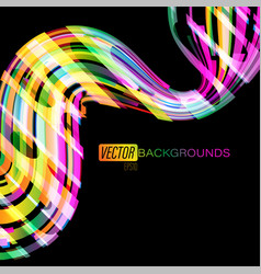 colorful curved shapes motion on a black vector image