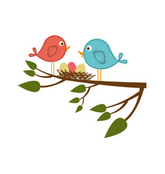 Colorful silhouette of birds and nest in tree vector