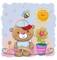 cute cartoon teddy bear with flower vector image
