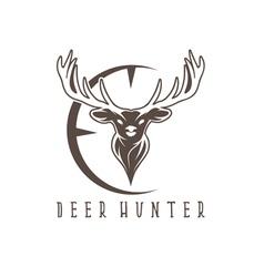 deer head with target design template vector image