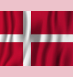denmark realistic waving flag national country vector image