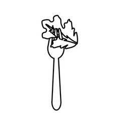 Figure fresh leaf lettuce in the fork utensil vector