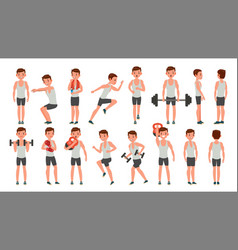 fitness man different poses weight vector image
