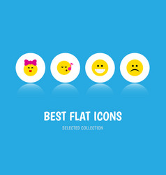 Flat icon gesture set of descant sad grin and vector