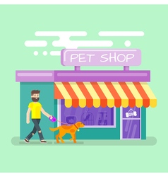 Flat of bearded man leading the dog to the pet vector image