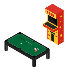 Game room concept arcade game machine and pool vector