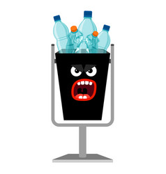 garbage monster can with plastic bottles vector image