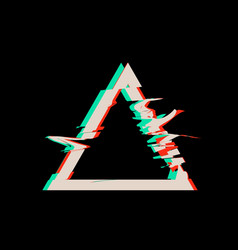 glitch distortion frame triangle vector image