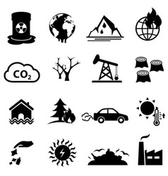 Global warming and climate change icon set vector