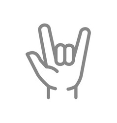 goat gesture line icon i love you symbol vector image