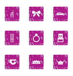 Greet date icons set grunge style vector