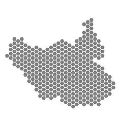 Grey hexagon south sudan map vector