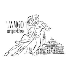 Hand made sketch of tango dancers vector