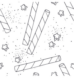 handdrawn outline seamless pattern cocktail straws vector image