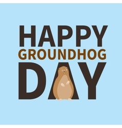 Happy groundhog daylogo icon cute happy Marmot vector