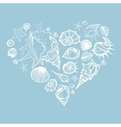 Heart of sea shells vector