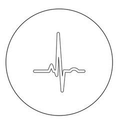 heart rhythm ekg black icon in circle isolated vector image