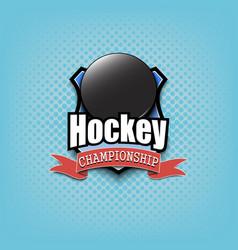 hockey logo template design vector image