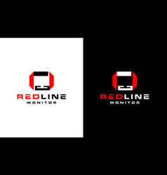 Initial letter rl lr with monitor computer logo vector