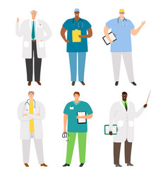 international doctors and staff set vector image