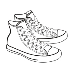 isolated cartoon sneakers lineart vector image