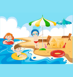 Kids having fun on the beach vector