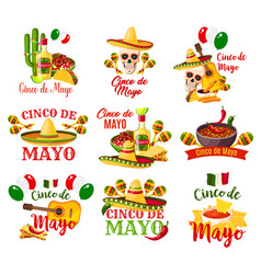 labels set for cinco de mayo vector image
