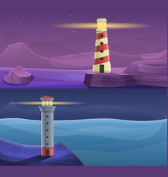 lighthouse coast banner set cartoon style vector image