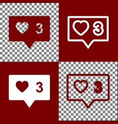 like and comment sign bordo and white vector image