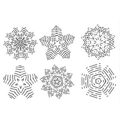 linear icon set of colors shapes or snowflakes vector image