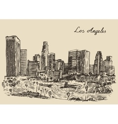 Los Angeles skyline California vintage engraved vector