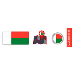 Madagascars national flag collection is isolated vector