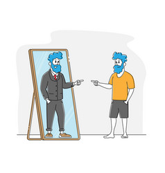 Male character looking in big mirror see himself vector