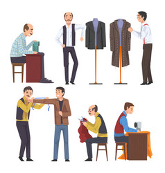 male dressmaker creating and sewing clothes set vector image