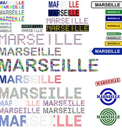 Marseille text design set vector