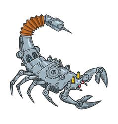 Mechanical scorpio line art sketch vector