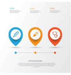 Medicine icons set collection of review vector
