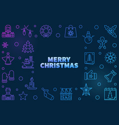 merry christmas colored outline vector image