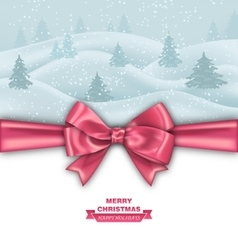 Merry Christmas Greeting Card with Bow Ribbon vector