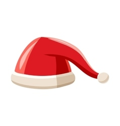 New year red Santa Claus hat icon cartoon style vector image