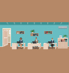 office room interior with three workplaces vector image