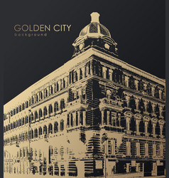 Old golden building art vector