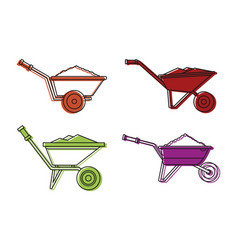 one wheel barrow icon set color outline style vector image