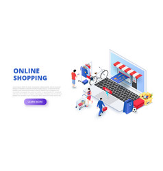 online shopping design concept with people and vector image