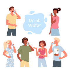 People drink water set bearded man guy holding vector