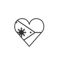 philippines flag icon in a heart shape in black vector image