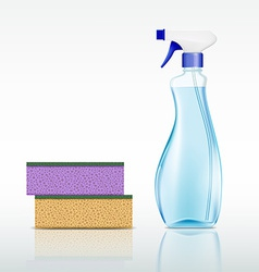 plastic spray bottle with cleaning liquid and vector image
