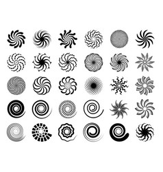 radial swirles hypnotic black shapes round vector image