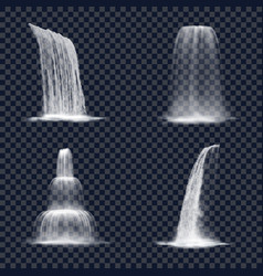 realistic mountain waterfall on transparent vector image